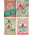 4 retro christmas party invitations holidays vector image vector image