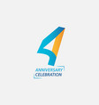4 year anniversary celebration template design vector image vector image