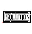 a maze with the word solution vector image vector image
