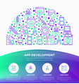 app development concept in half circle vector image vector image