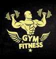 athlete with dumbbells and wings vector image vector image