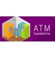 ATM isometric flat 3d vector image vector image