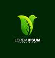 awesome bird leaf logo design vector image vector image