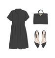 basic woman collection flats black dress bag vector image vector image
