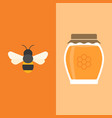 bee and honey jar icon flat design vector image vector image