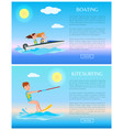 boating and kitesurfing sea rest water sports vector image vector image