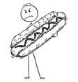 cartoon of angry man holding big hot dog vector image