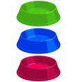 colorful cartoon empty pet food bowl set vector image