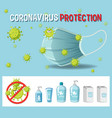 coronavirus protection text sign with vector image vector image