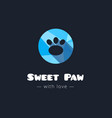 cute paw polygonal logo Pet shop sign vector image