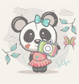 cute selfie panda girl vector image vector image