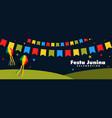 festa junina celebration night banner vector image vector image