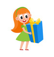 flat girl holding big present box vector image