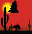 flying bat black silhouette and cactus vector image