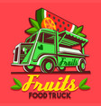 food truck fruit stand fast delivery service logo vector image vector image