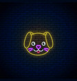 glowing neon sign of cute dog in kawaii style vector image
