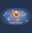 golden bitcoin over world map digital crypto vector image