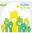 Green yellow and blue hands with symbols of vector image vector image