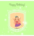 Happy Birthday card template with princess vector image vector image