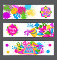 happy holi colorful banners of vector image