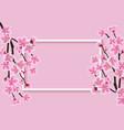 horizontal rectangle frame with a sakura or cherry vector image vector image
