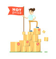 hot price concept with man on pile of boxes vector image vector image