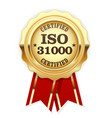 iso 31000 standard certified rosette - risk manage vector image vector image