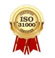 iso 31000 standard certified rosette - risk manage vector image vector image