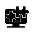 jigsaw online black glyph icon vector image