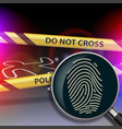 magnifying glass with fingerprint vector image vector image