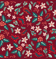 misteltoes and christmas flowers on red background vector image