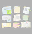 notes memo paper sheets on adhesive tape vector image vector image