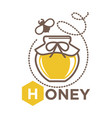 organic sweet honey in jug with bee logo design vector image vector image