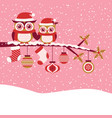 Owls couple on tree for red christmas greeting