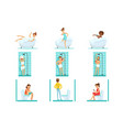 people in the bathroom doing their routine hygiene vector image vector image