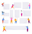 people with empty banner flat cartoon style vector image vector image