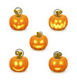 pumpkin with carved face on a white background vector image