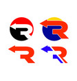 r letter arrow logo collection vector image vector image