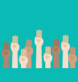 raised hands showing three fingers salute vector image