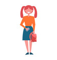 redhead schoolgirl with two ponytails full length vector image