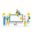 review people characters holding gold stars vector image