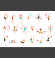 rhythmic gymnasts training with different