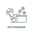 rich manager line icon linear concept vector image vector image