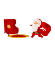 santa claus with christmas presents and armchair vector image vector image