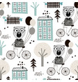 seamless childish pattern with cute bears vector image vector image