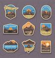set nine mountain travel emblems camping vector image vector image