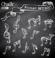 set of chalk music icons vector image vector image