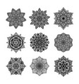 set of round mandala on white isolated background vector image