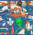 set space mission colorful seamless pattern vector image vector image