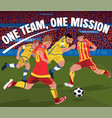 soccer players fighting for ball vector image